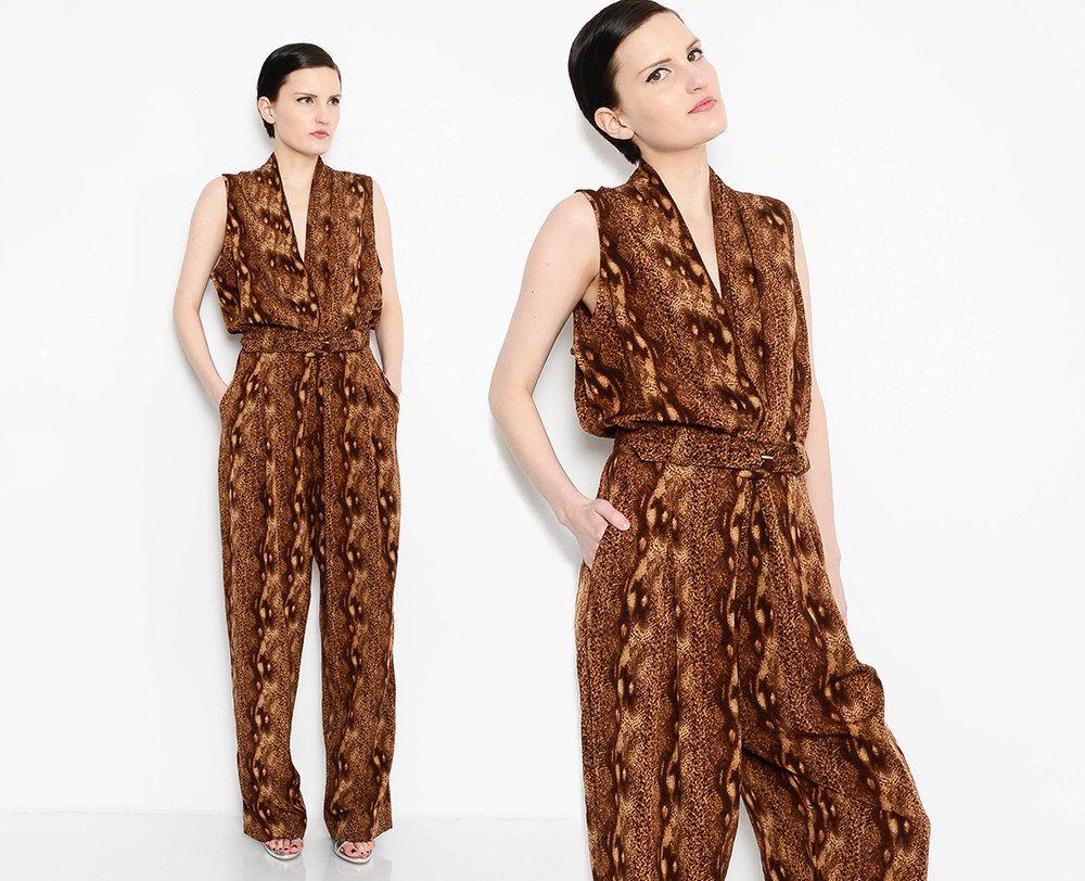 0c81147e3b8 Vintage 80s 90s Brown Jumpsuit Python Snake Skin Print Jumper High Waisted  Deep V Neck 1980s Pantsuit Belted Jumpsuit Medium Large M L by  SHOPPOMPOMVINTAGE ...