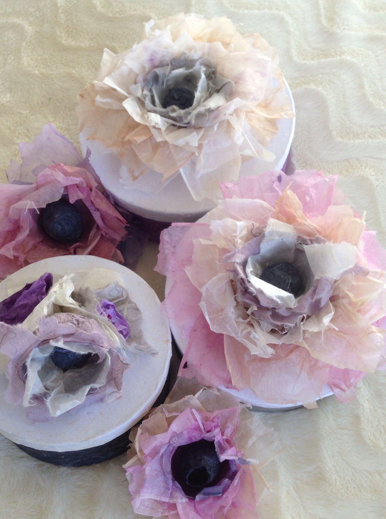Teabag Flowers On Boxes Paper Art From Natalie Guk Tea Bags