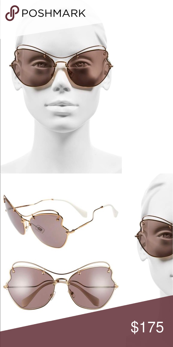 da46dca8a63 Mui Mui Gold Wire Sunglasses These are brand new with the tags. I just  don t like them on my face. The tip at the back is purple not white. Miu Miu  ...