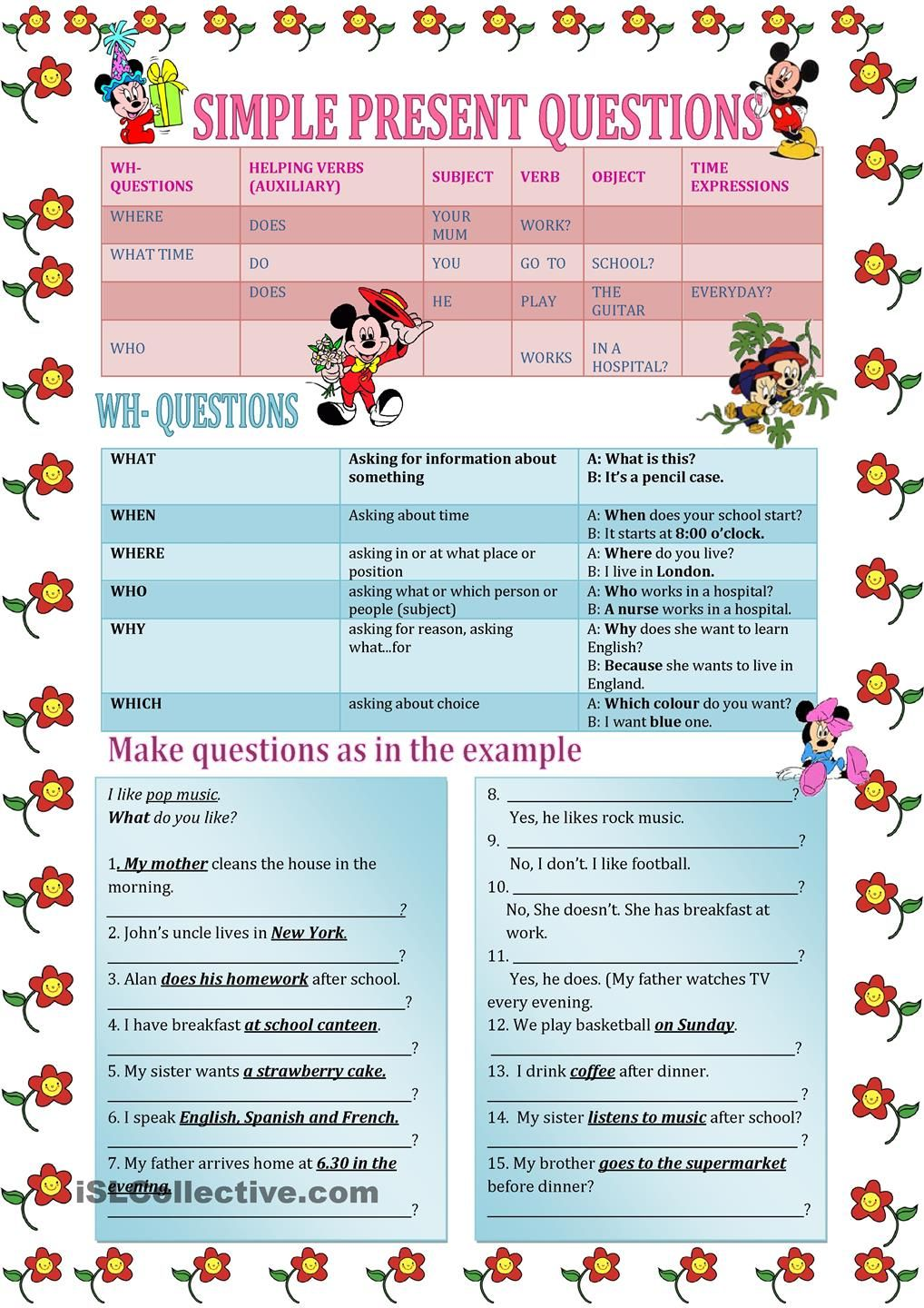 question words Wh- questions | English | Pinterest | Wh questions ...