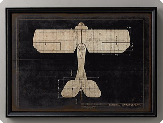 Vintage airplane blueprint art from an old drawer new baby vintage airplane blueprint art from an old drawer malvernweather Images