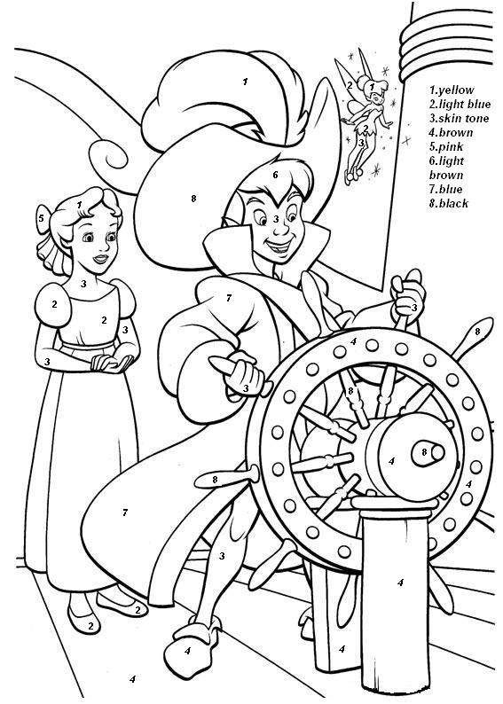 Peter Pan And Wendy Color By Number Coloring Sheet Peter Pan Coloring Pages Disney Coloring Pages Cartoon Coloring Pages