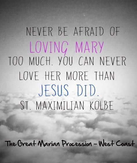 Never Be Afraid Of Loving Mary Too Much You Can Never Love Her More Than Jesus Did St Maximilian Kolbe Afraid Of Love Saint Quotes Catholic Quotes