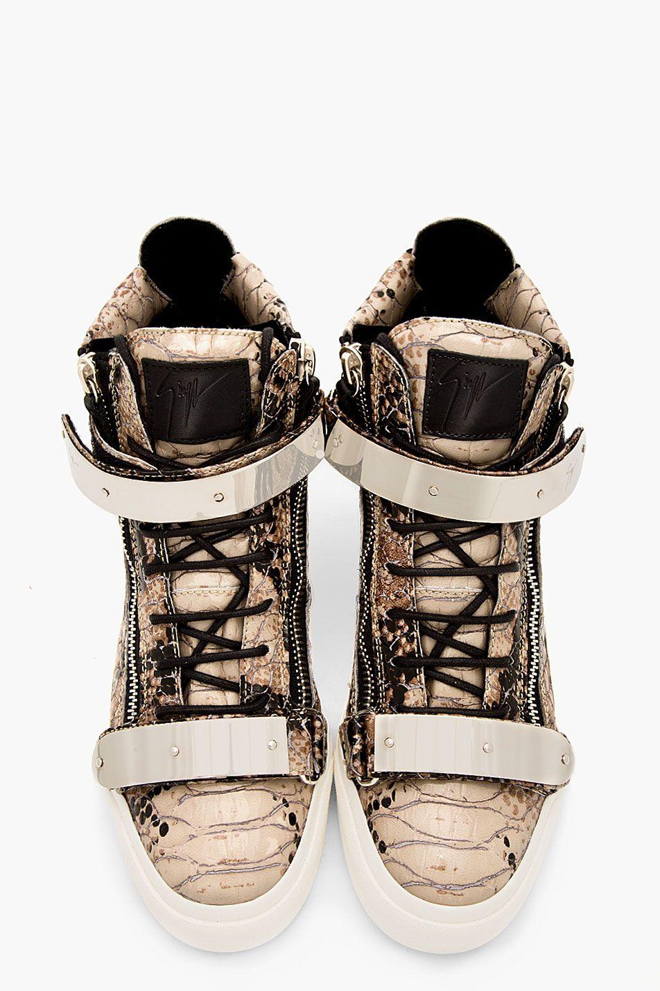 GIUSEPPE ZANOTTI Grey Leather Python Atlantide High-Top Sneakers