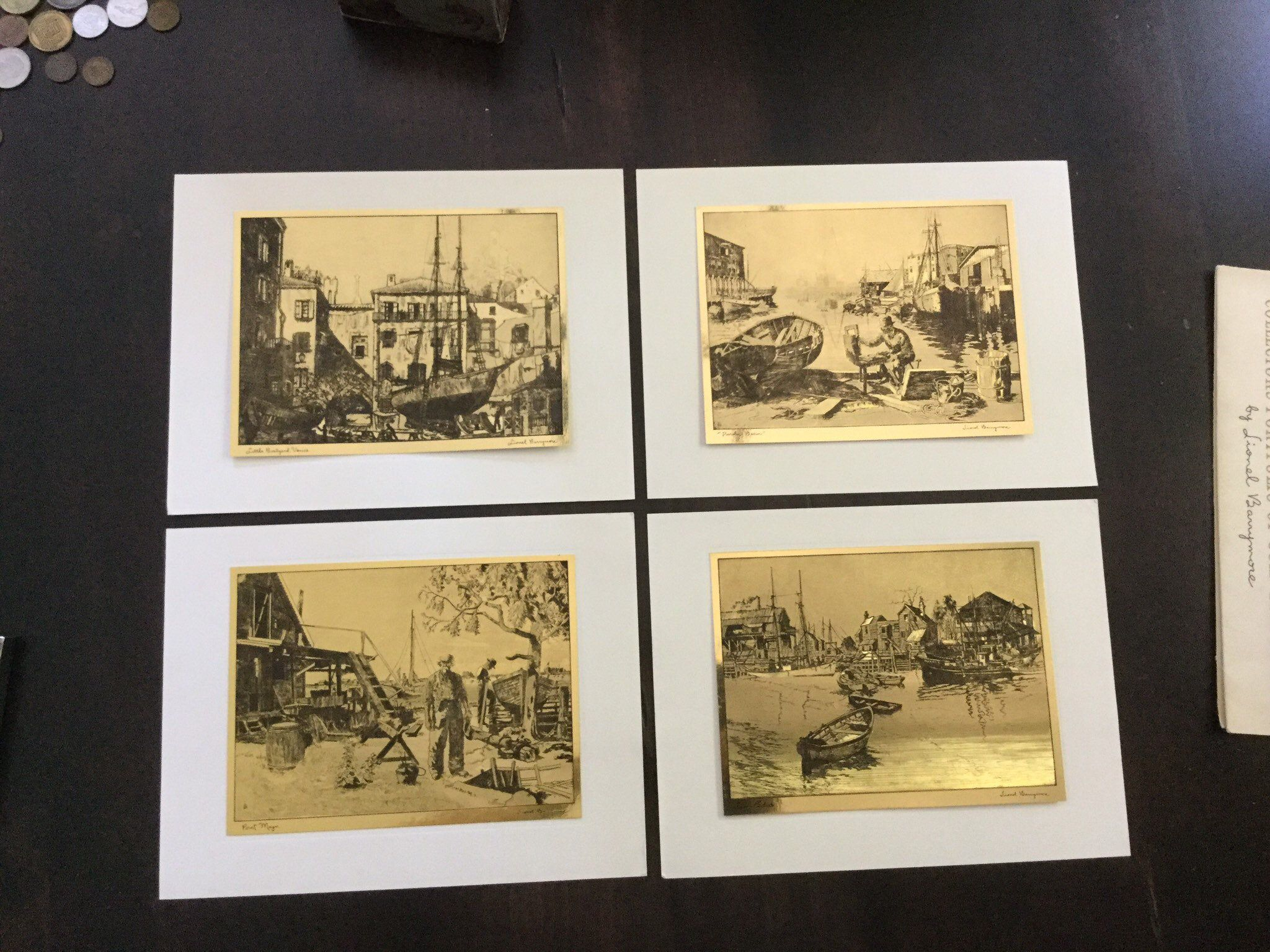 Complete set lionel barrymore gold etchings vintage art