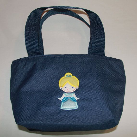 Lunch Bag Personalized Cutie Princess as Cinderella Applique for Girls Insulated with Zippered Main Compartment and One Side Pocket