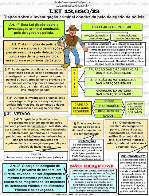 DELEGADO DE POLÍCIA - LEI 12.830/13 -  Dispõe sobre a investigação criminal conduzida pelo delegado de polícia.