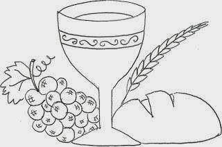 desenho de calice com uvas trigo e pão simbolos eucaristicos para