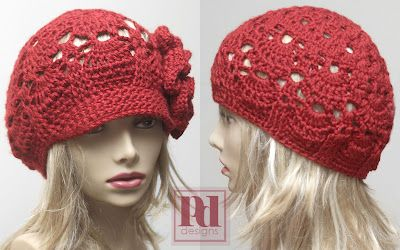 PDDesigns: NEW Pattern: 2-in-1 Lacy Shells Cloche/Newsboy