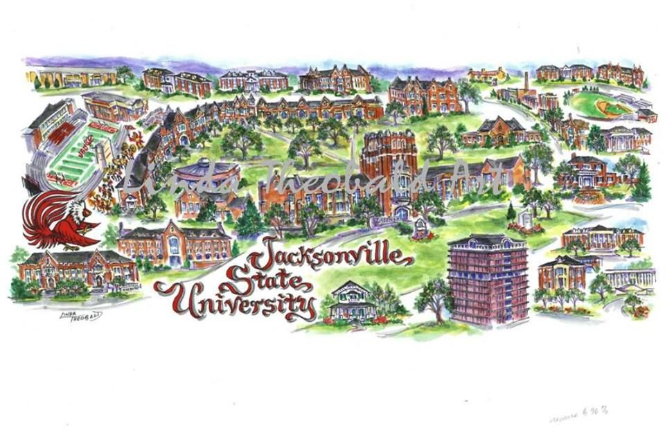A Map Of Jacksonville State University In Jacksonville Alabama