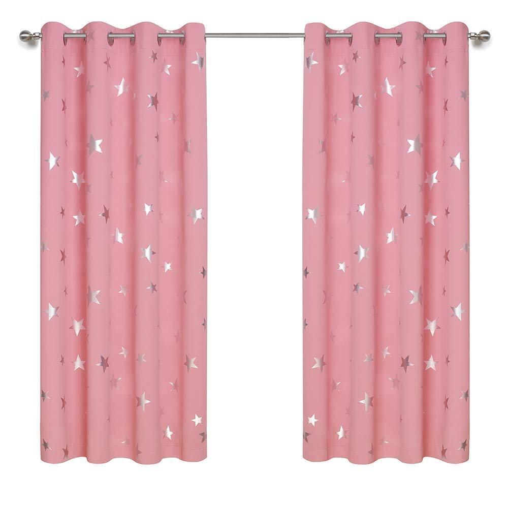 Anjee Kids Curtains For Girls Room Foil Print Star Room Darkening
