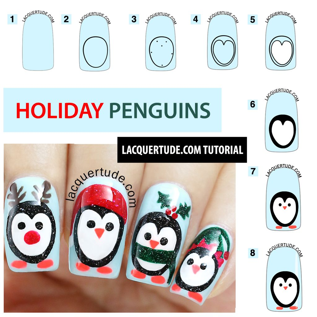 Holiday Penguins Nail Art Tutorial Feat Picture Polish Sky Starry Night Malt Teasers O Hara Kryptonite Sunset Lacquertude