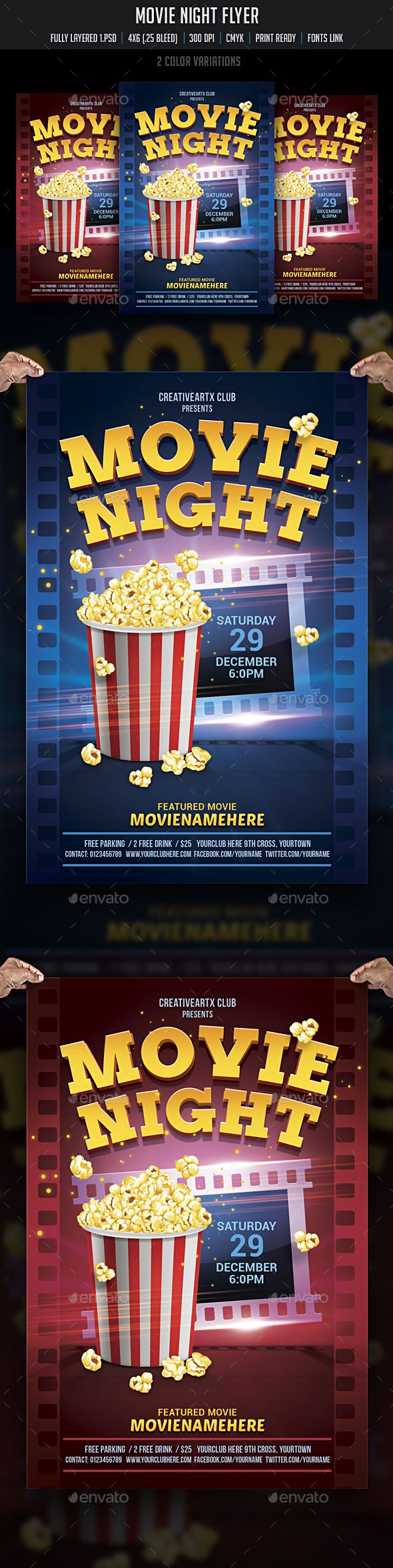 Movie Night Flyer  Psd Flyer Templates Flyer Template And Template
