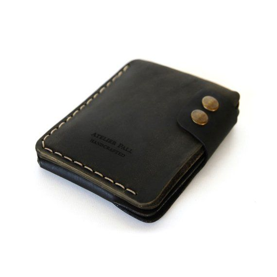 029e7ab892b8 SALE Double snap wallet by AtelierPall Handmade slim cash card wallet  driftwood khaki duo-tone