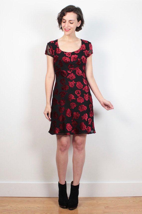f075e41e493 Vintage 90s Dress Esprit Mini Dress Black Red Burn Out Floral Velvet  Babydoll Dress 1990s Dress Soft Grunge Burnout Clueless Dress S Small M   vintage  etsy ...
