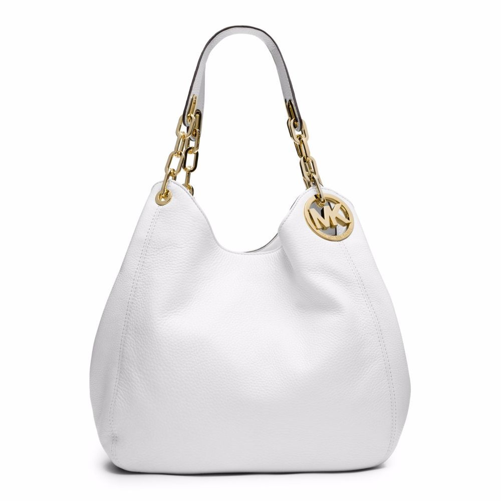 NWT MICHAEL Michael Kors Fulton White Leather Large Shoulder