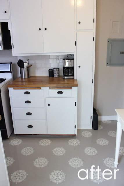 Before And After Linoleum Floor Makeover Painted Kitchen Floors