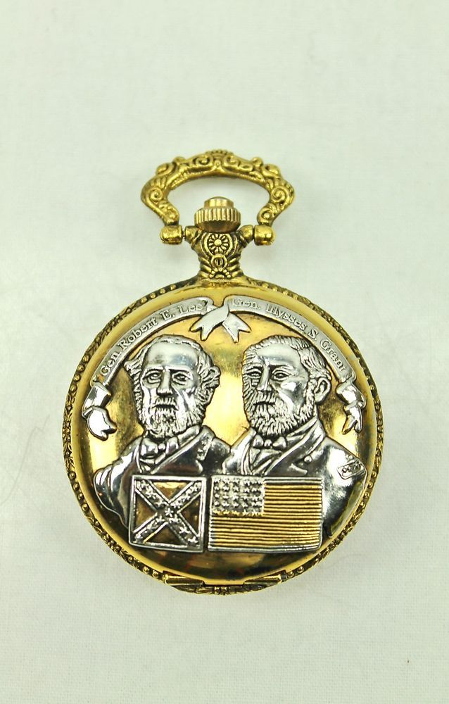 57dbd9f128b1 Civil War General Robert E Lee   Ulysses S Grant vtg Pocket Watch ...