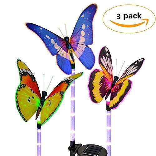 Beau Garden Solar Lights Outdoor Decorative Butterfly Garden Lights D RUNZE 7  LED Colors Waterproof For