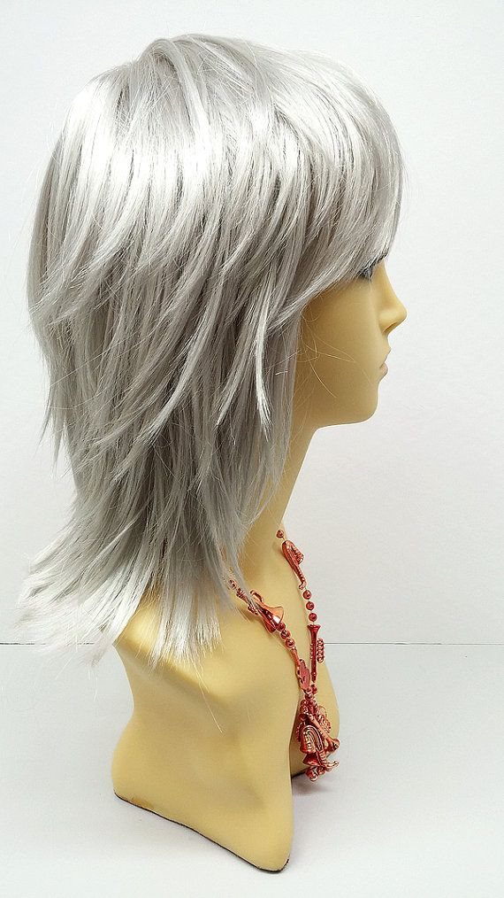 12 inch Silver Grey Shag Style Wig. Straight and L