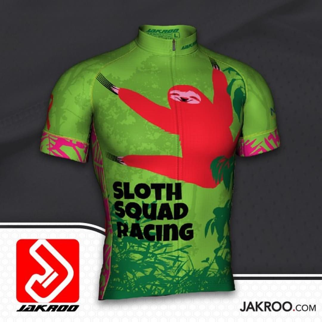 That is one mighty happy full frontal sloth. #Repost @jakroousa ・・・ Team Sloth Cycling Jersey! #jakroo #jakroousa #bike #cycling #customapparel #bikejersey #graphicdesign #newkitday...