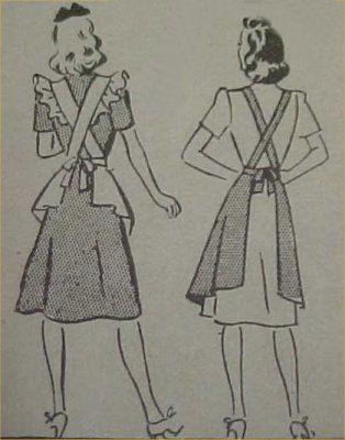 Vintage Bib Apron Full Size Pattern Sexy 1940s WWII Era di effies1