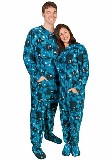 Adult One Piece Pajamas Aquarium Fleece with Butt Flap | P.J.'s ...