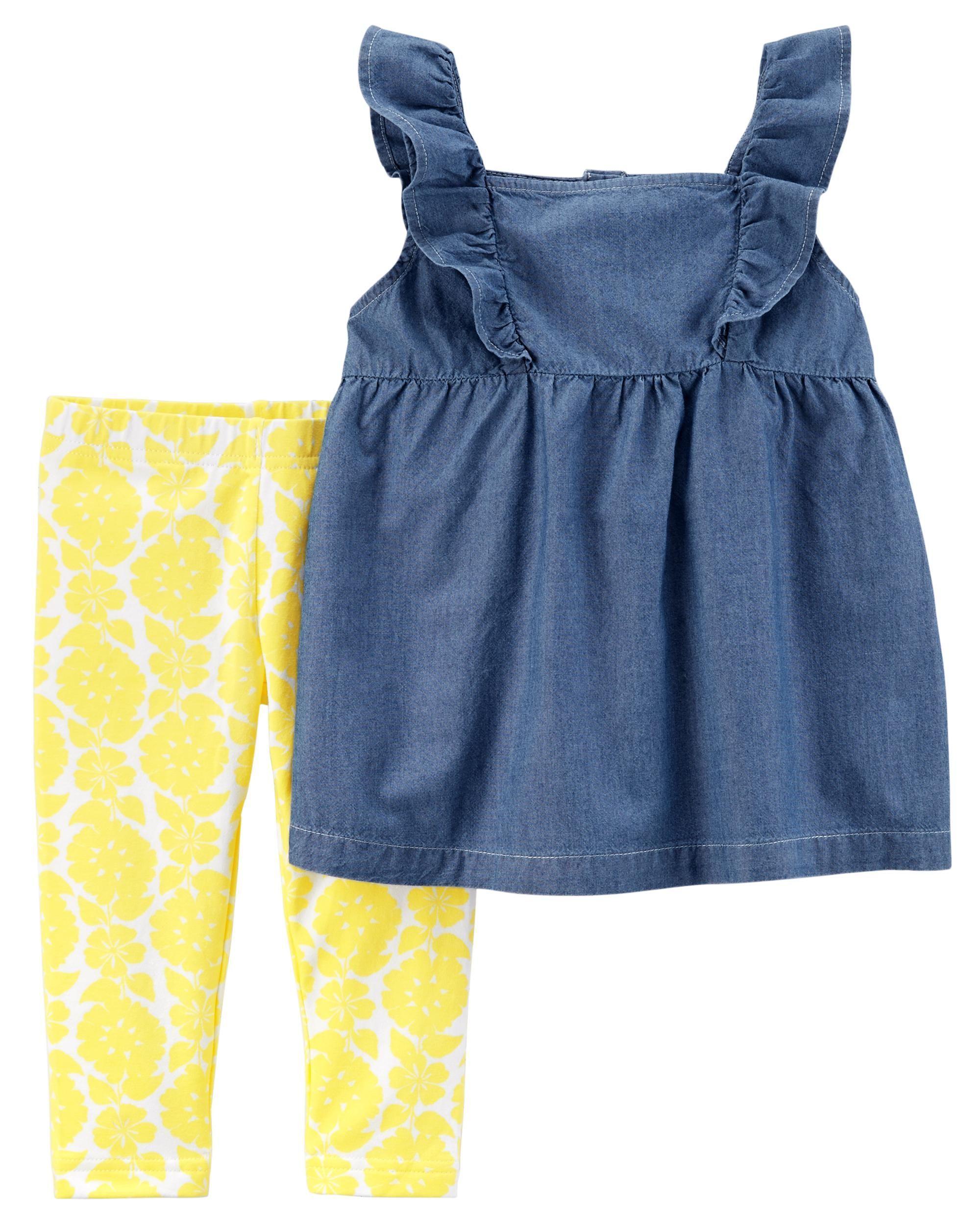 5f5eeb744c8 2-Piece Chambray Flutter Top & Floral Capri Legging Set   Lou Babe ...