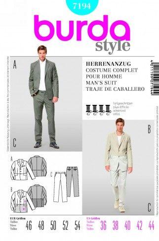 Burda Men\'s Sewing Pattern 7194 Jacket & Trouser Pant Suits | Sewing ...