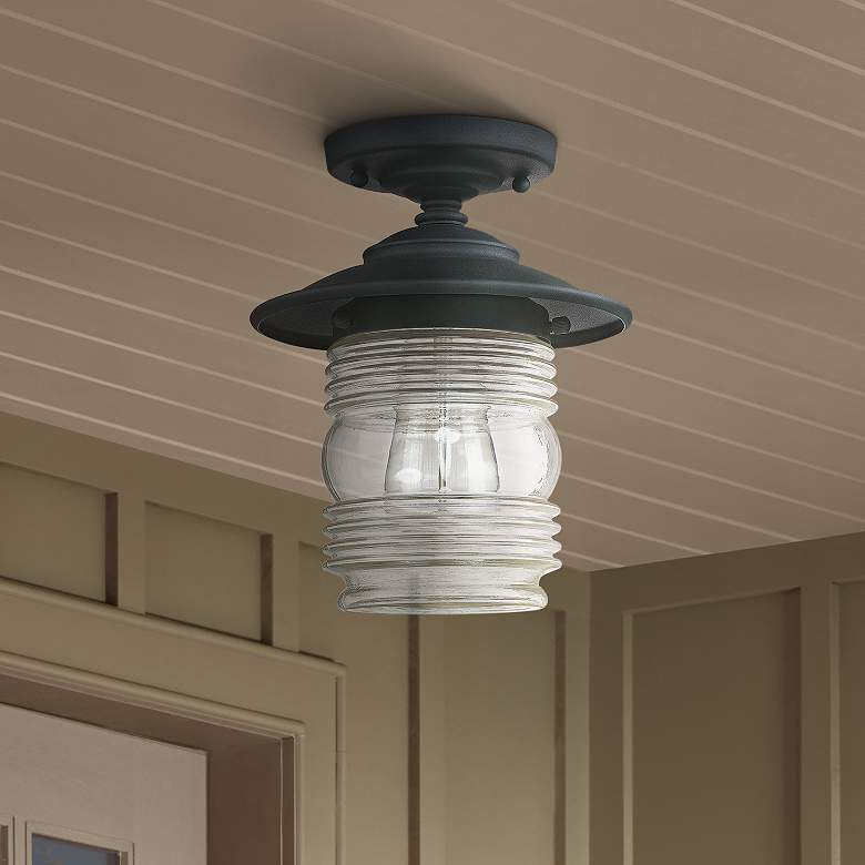 Creekside 8 1 4 W Black Ribbed Glass Outdoor Ceiling Light 1h833 Lamps Plus In 2020 Outdoor Ceiling Lights Ceiling Lights Porch Ceiling Lights