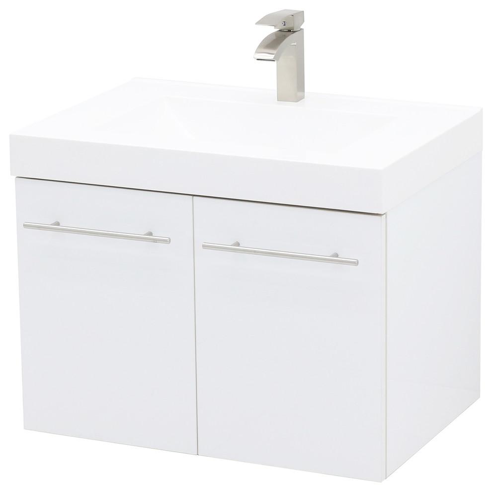 24 Wall Mount Vanity Sink Set White Integrated Sink Top Modern Bathroom Vanities And Sink Consoles In 2020 Modern Bathroom Vanity Vanity Sink Wall Mounted Vanity