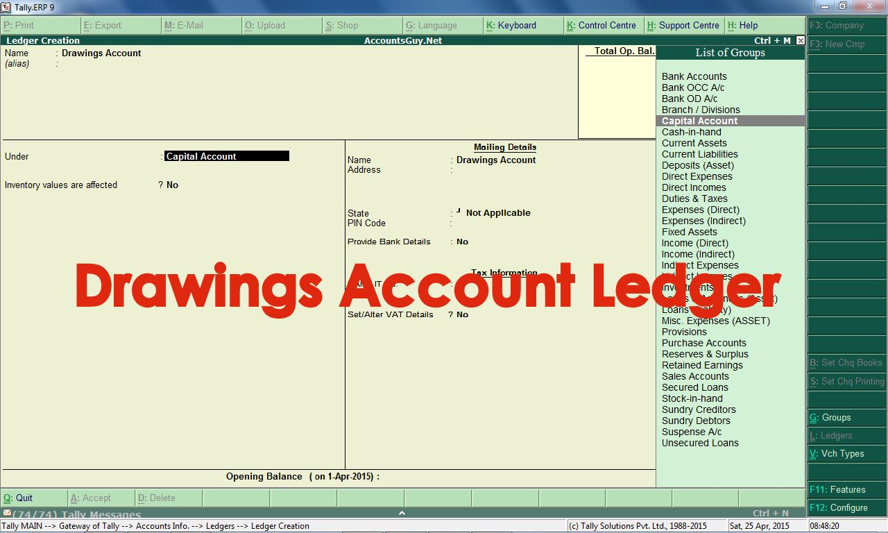 How to create Drawings Account Ledger in Tally.ERP 9? | Capital ...