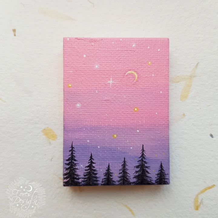smal print, camping painting , mountain print canvas, landscape artprint, small painting, tiny canvas, mini canvas 4x4 Acrylic Paint On Cardboard