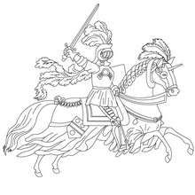 Knight On Horseback Running Coloring Page Coloring Page