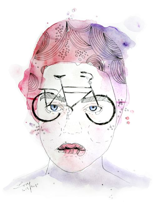 BICY-GOGGLES Watercolor girl illustration for a street sticker...