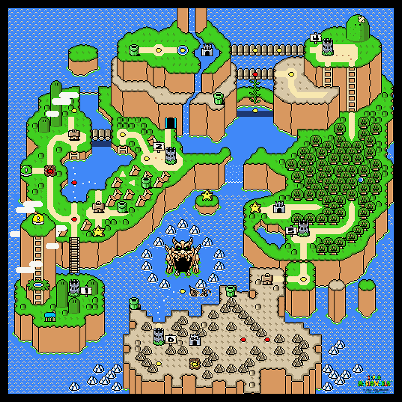 Super Mario World Main Overworld Poster Map 24 x 24 for the Super