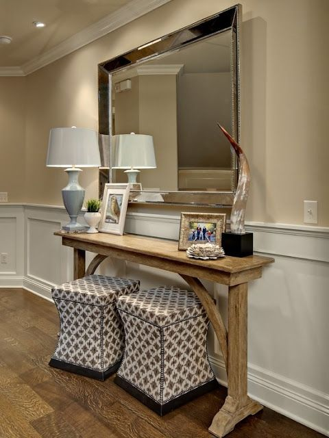 Love The Console Table With Seating Branch This Wi Function As Extra Seating When Entertaining Seats Can Be Brought Into The Home Decor Entry Way Design Home