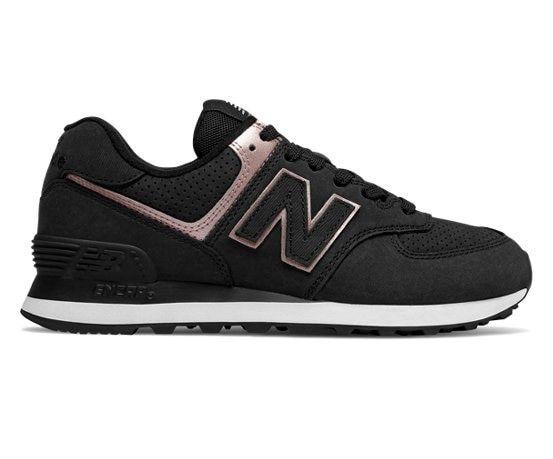 New Balance 574 Nubuck Black With Champagne Metallic 5 Standard New Balance New Balance 574 Shoes