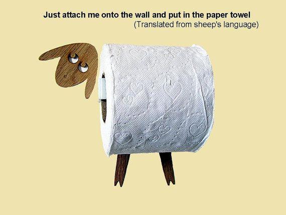 mouton support rouleau de papier toilette mouchoirs dr le de sticker mural fait de. Black Bedroom Furniture Sets. Home Design Ideas