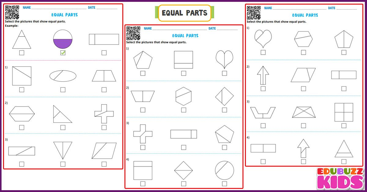 Free Printable Equal Parts Worksheets For The Kids Grade 1 With Common Core Standards Here The Ki Math Worksheets Common Core Math Worksheets Common Core Math