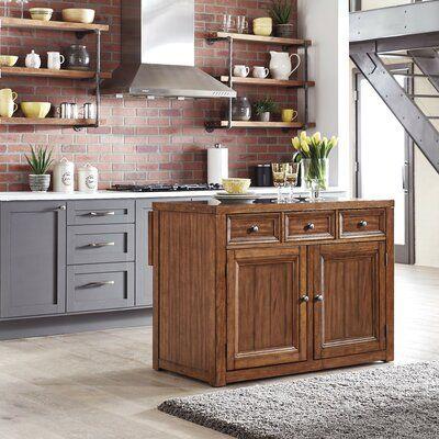 Canora Grey Milford Kitchen Island Counter Material Quartz Kitchen Tops Rustic Kitchen Island Grey Kitchen Island