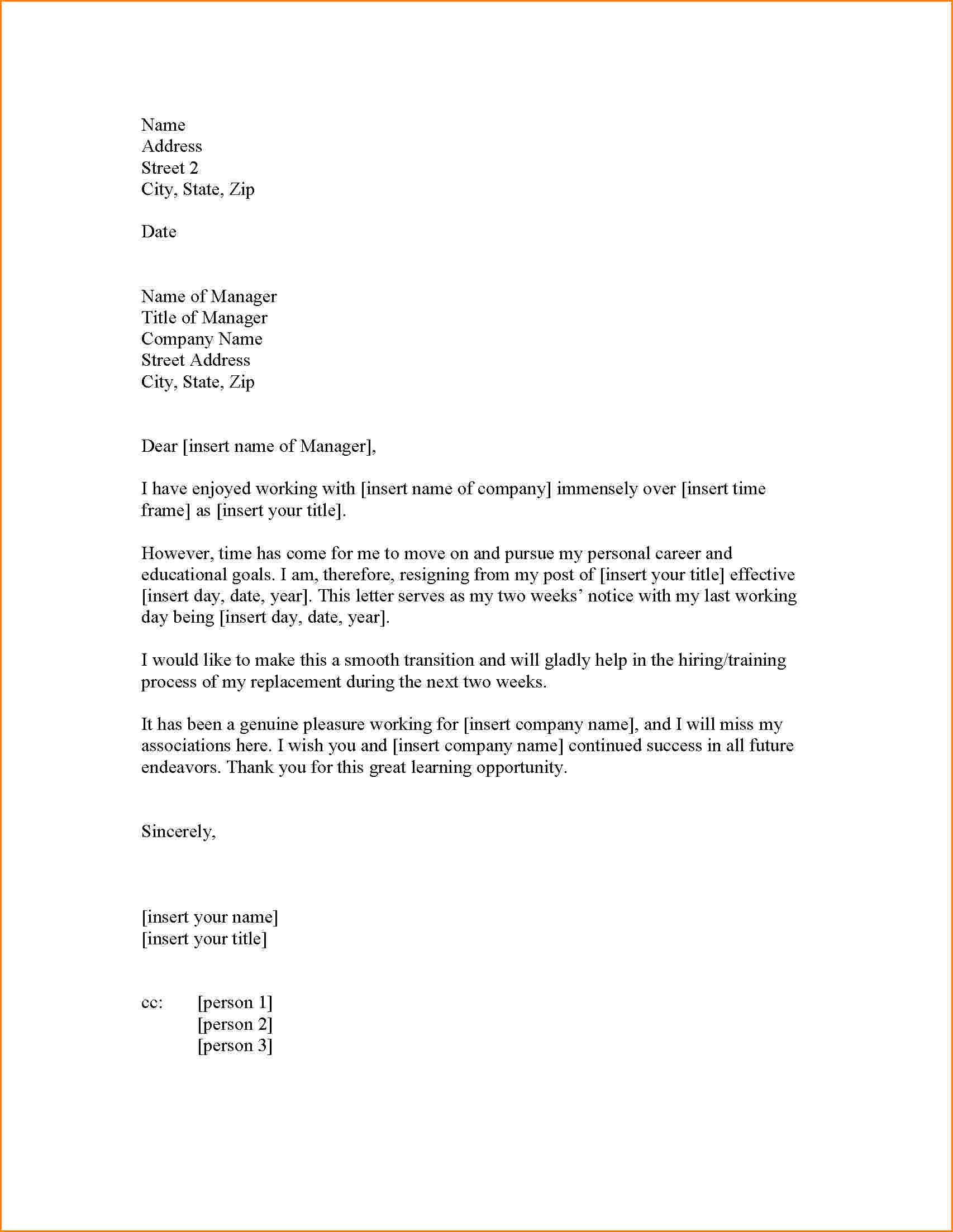 Resignation Letter Two Weeks Notice Images About