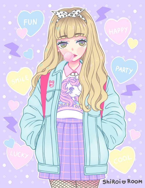 Imagem de art, pastel, and girl