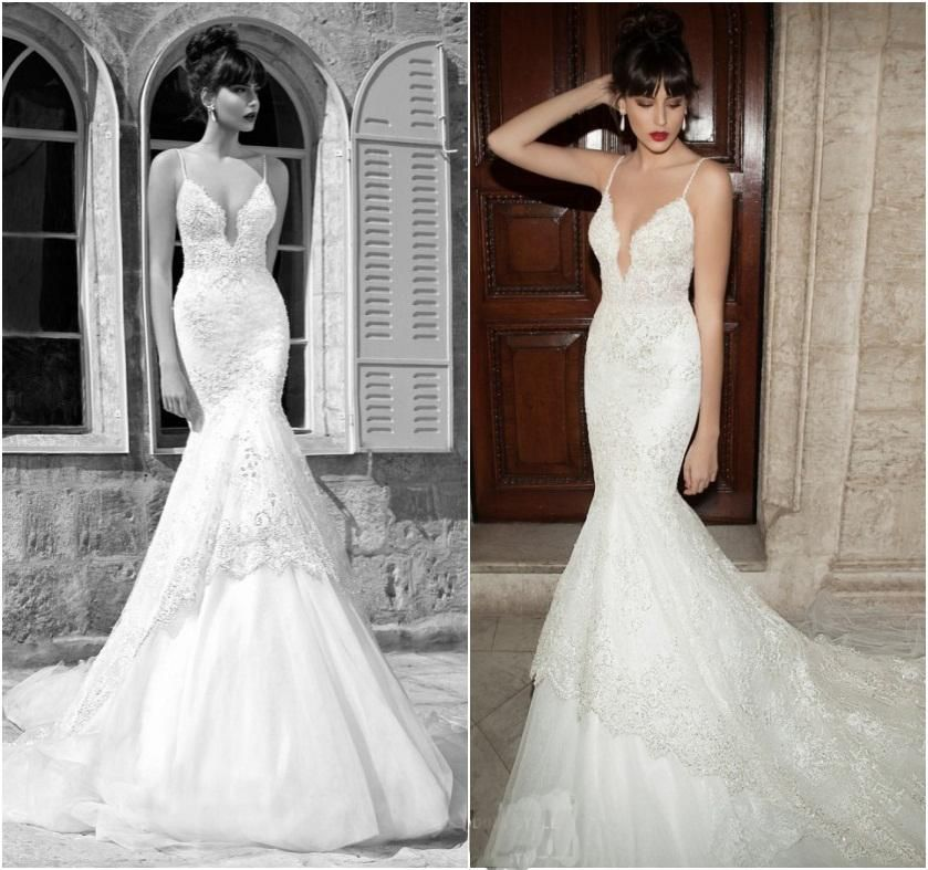 Low-Back Halter Lace Tulle Mermaid Wedding Dress