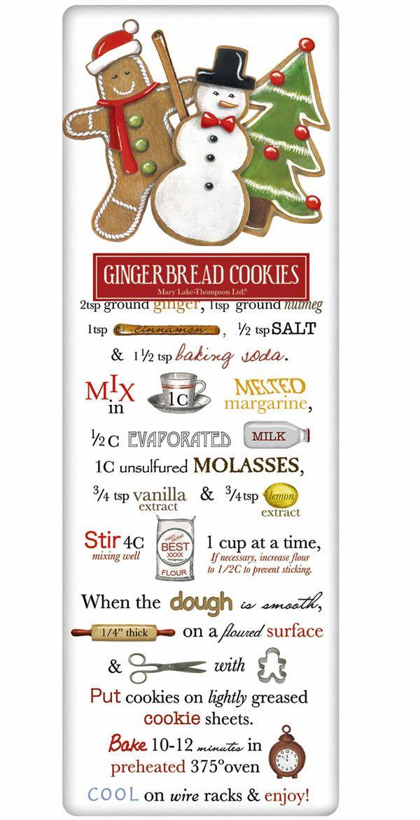 Santa's Gingerbread Cookies Recipe 100% Cotton Flour Sack Dish Towel Tea Towel #dishtowels