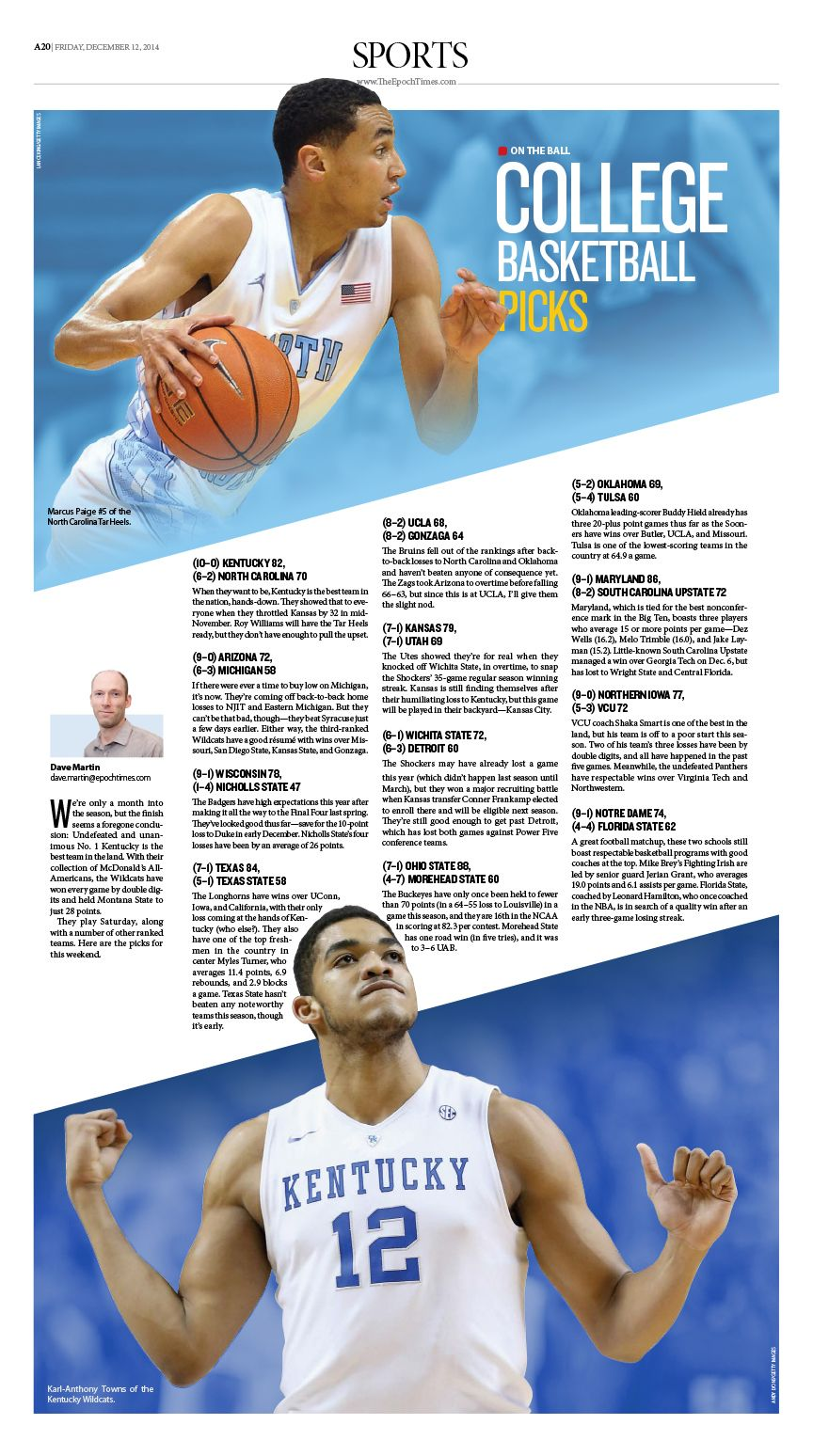 college basketball picks epoch times newspaper editorialdesign college basketball picks 65372epoch times newspaper editorialdesign graphicdesign