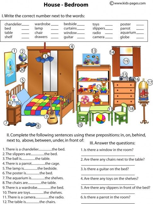 kids pages bedroom and prepositions speech therapy english prepositions english grammar. Black Bedroom Furniture Sets. Home Design Ideas