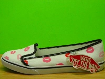Vans White Pink Red Lips Ballet Flats