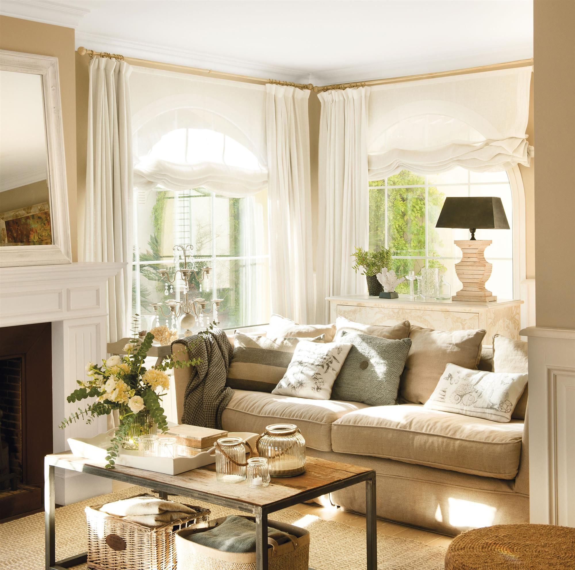 Escoger cortinas salones muy acogedores pinterest for Cortinas salon beige