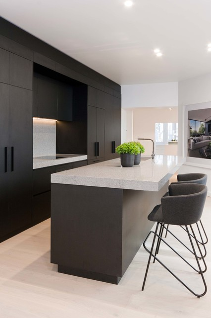 Best Matte Black Timber Grain Contemporary Kitchen Sydney 400 x 300